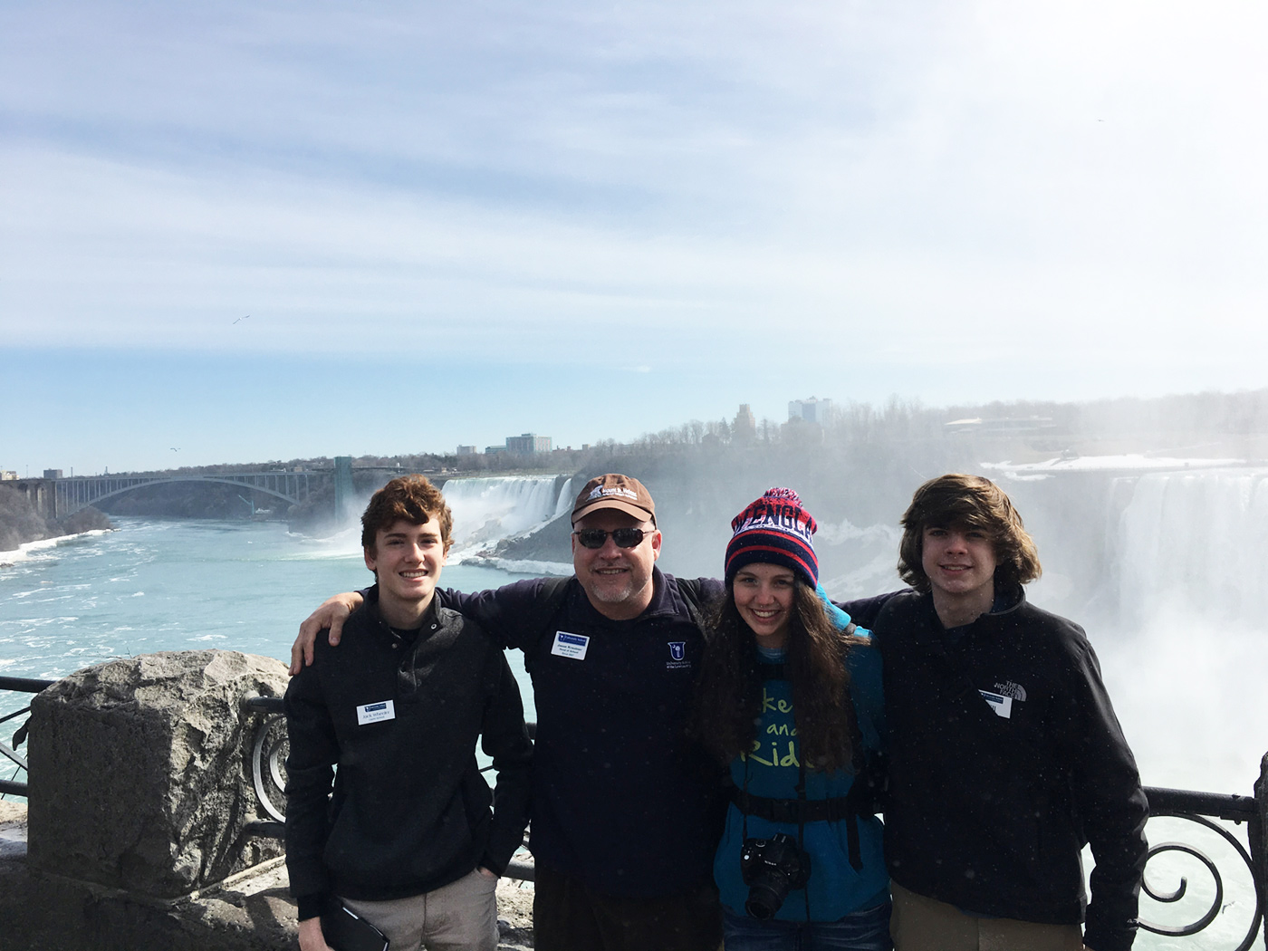 Head of School with Students at Niagara Falls